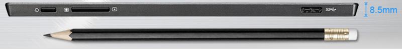 MB169B+の側面図。鉛筆と同等の薄さ。USB端子も薄いです。