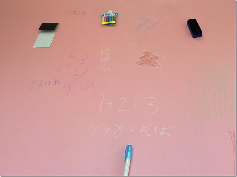 黒板化された壁にためしに落書きしてみた様子